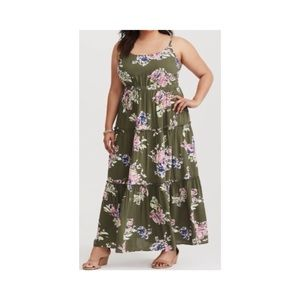 Torrid Olive Floral Tiered Maxi Dress